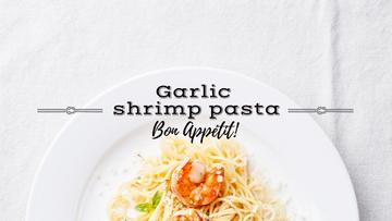 delicious garlic shrimp pasta poster