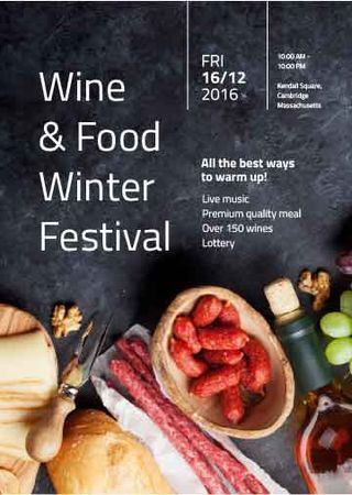 Plantilla de diseño de Food Festival invitation Wine and Snacks Invitation