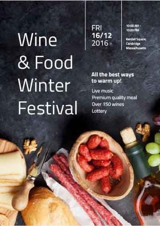 Ontwerpsjabloon van Invitation van Food Festival invitation Wine and Snacks