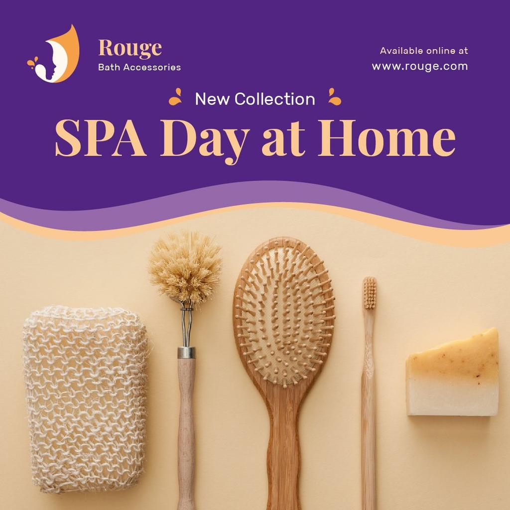Spa Accessories Offer Brushes and Sponges Instagram Design Template