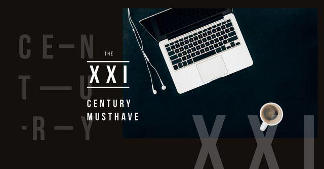 Plantilla de diseño de Laptop on working table Facebook AD