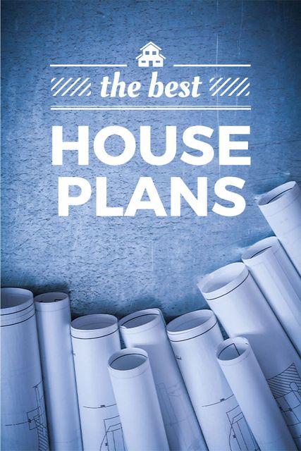 Modèle de visuel House Plans Blueprints on table in blue - Tumblr