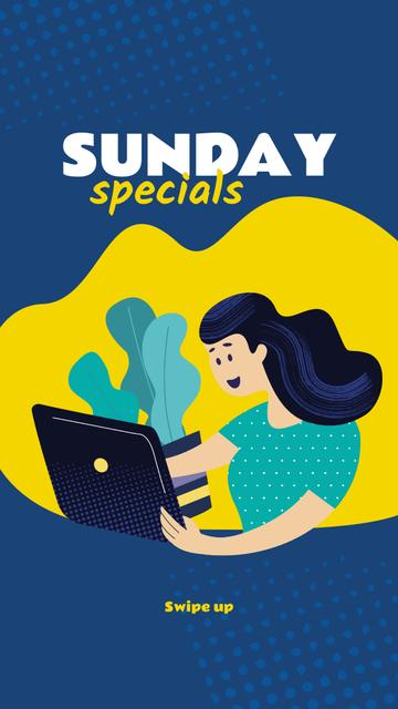 Plantilla de diseño de Girl with laptop Shopping online Instagram Story