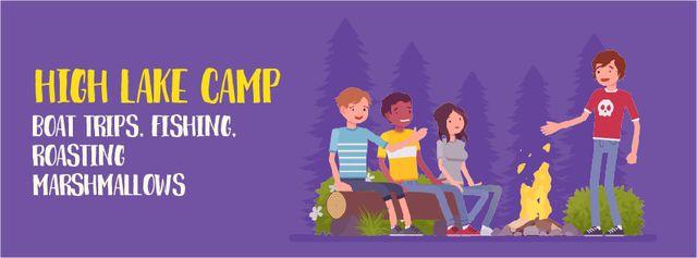 Ontwerpsjabloon van Facebook Video cover van Man telling scary story by campfire