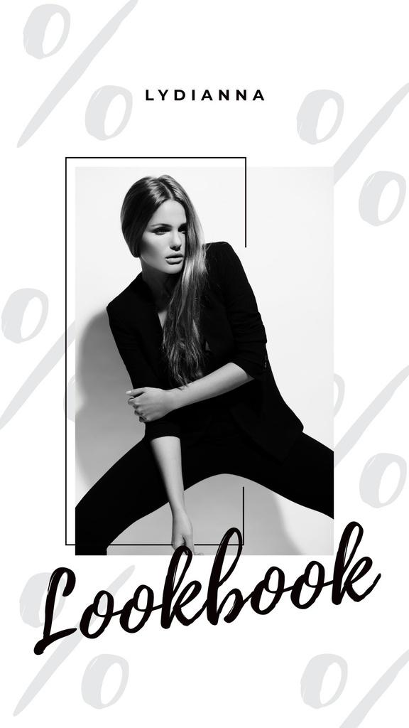 Plantilla de diseño de Woman in Black Outfit on White Instagram Story