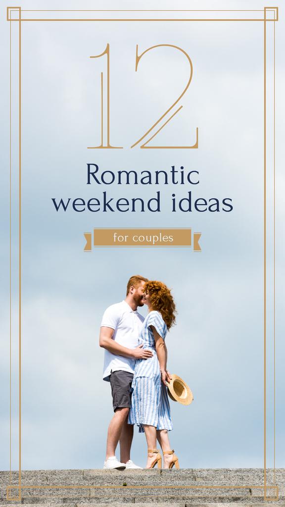 Romantic couple kissing Instagram Story Design Template