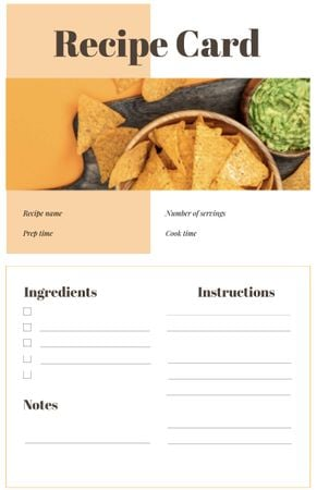 Nachos with Guacamole Dip Recipe Card Design Template