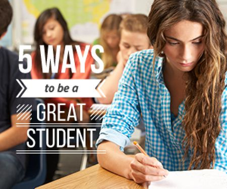 5 ways to be a great student poster Medium Rectangle Tasarım Şablonu