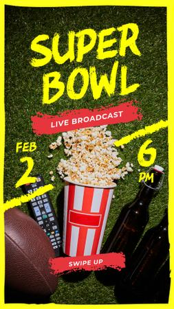 Ontwerpsjabloon van Instagram Story van Super Bowl Match Broadcast Rugby Ball with Snacks