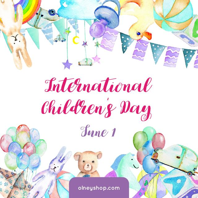 Kids toys and decoration on Children's Day Instagram Modelo de Design
