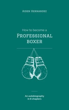 Boxing Gloves Hanging in Blue Book Cover Modelo de Design