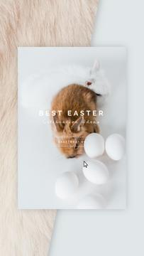 Easter Greeting Cute Bunnies with Eggs | Vertical Video Template