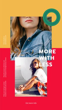 Template di design Fashion Store ad with Happy young Woman Instagram Story