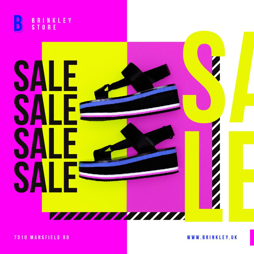 Shoes Sale Summer Sandals on Purple   Instagram Ad Template — Crear un diseño