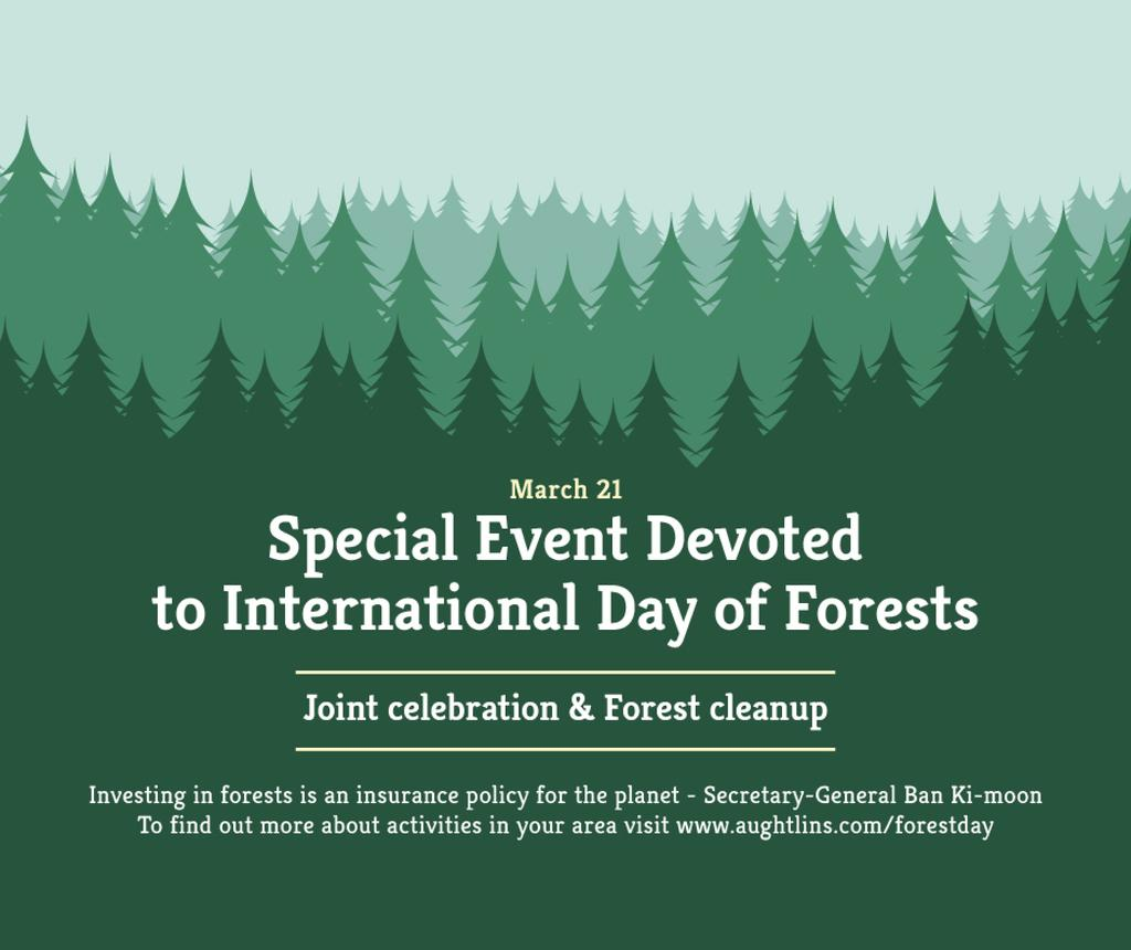 International Day of Forests Event Announcement in Green | Facebook Post Template — Modelo de projeto