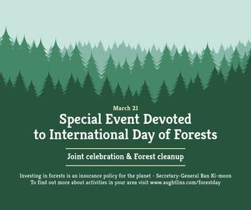 International Day of Forests Event Announcement in Green | Facebook Post Template