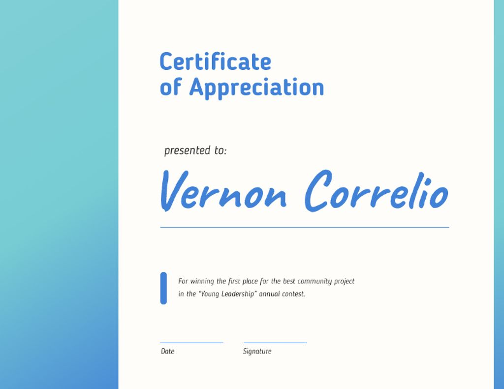 Leadership Contest Appreciation award in blue — Crear un diseño