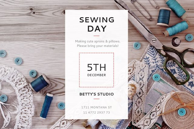 Sewing day event Announcement Gift Certificate Tasarım Şablonu