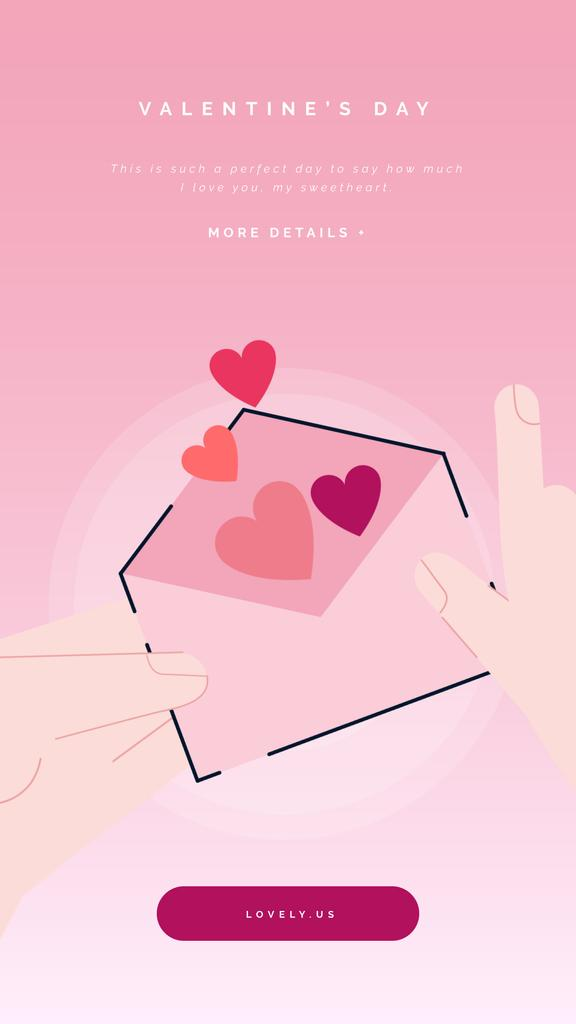 Valentines Day Greeting with Hearts in Envelope | Vertical Video Template — Create a Design
