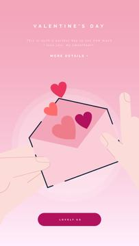 Valentines Day Greeting with Hearts in Envelope | Vertical Video Template
