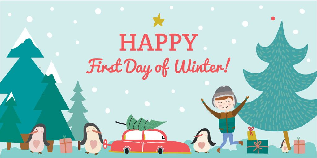 Happy first day of Winter illustration — Crear un diseño