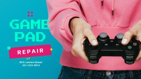 Ontwerpsjabloon van Full HD video van Repair Services Ad with Girl Holding Gamepad