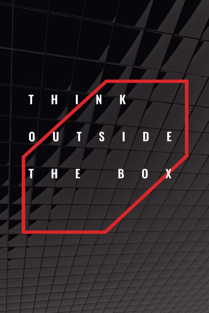 Think outside the box Quote on black tiles Tumblr Design Template