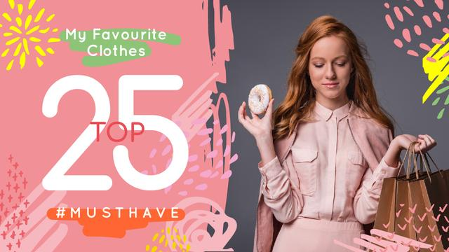 Modèle de visuel Fashion Ad Girl in Stylish Clothes in Pink - Youtube Thumbnail