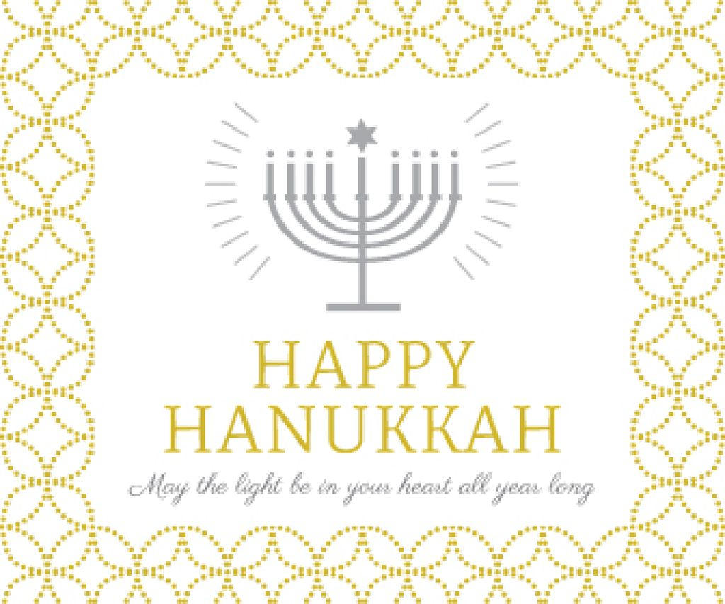 Hanukkah Greeting Menorah in Golden | Large Rectangle Template — Créer un visuel