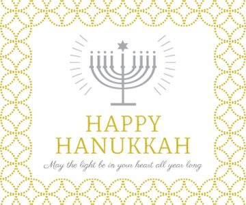 Hanukkah Greeting Menorah in Golden
