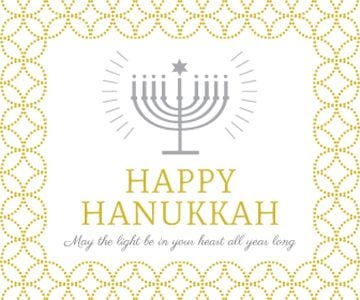 Hanukkah Greeting Menorah in Golden | Large Rectangle Template