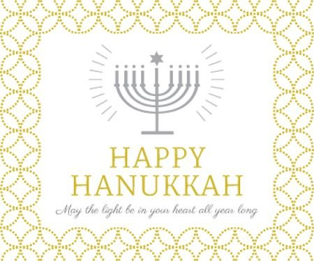 Template di design Hanukkah Greeting Menorah in Golden Large Rectangle