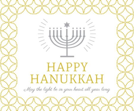 Hanukkah Greeting Menorah in Golden Large Rectangle Modelo de Design