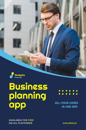 Business Planning App Ad Man with Smartphone Pinterest Modelo de Design