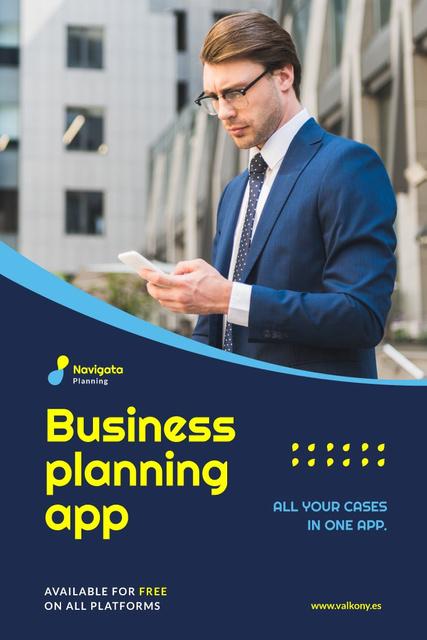 Business Planning App Ad Man with Smartphone Pinterest Tasarım Şablonu