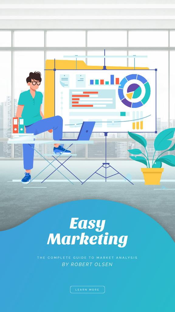 Marketing Report Man Working on Diagrams | Vertical Video Template — Create a Design