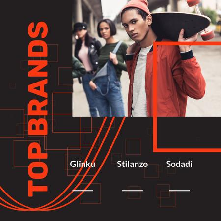 Fashion Brands store Ad with Young Skaters Animated Post Modelo de Design