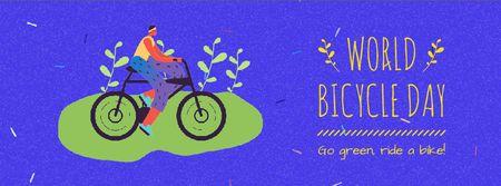 Modèle de visuel Cyclist riding on World Bicycle Ride - Facebook Video cover