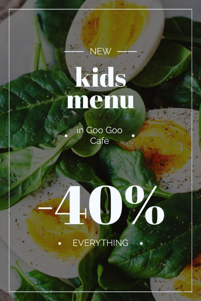 Kids Menu Offer Boiled Eggs with Spinach — Crea un design