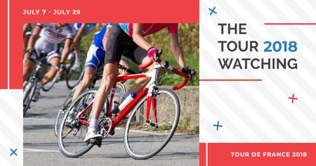 Template di design Tour de France with Group of Cyclists Facebook AD
