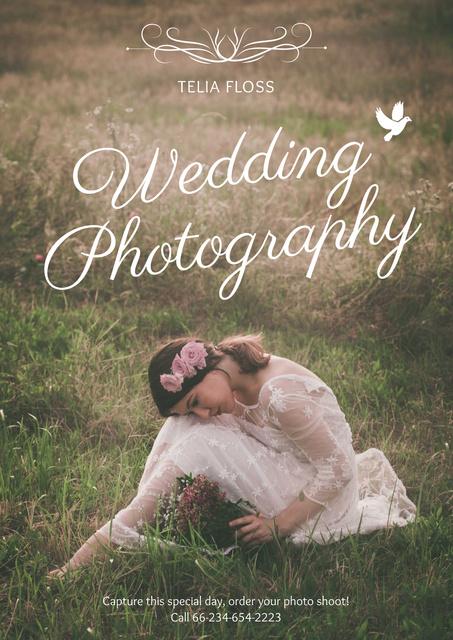 Plantilla de diseño de Wedding photography advertisement with Tender Bride Poster