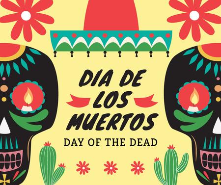 Plantilla de diseño de Dia de Los Muertos greeting skulls Facebook