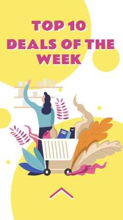 Plantilla de diseño de Store Deal with Woman shopping Instagram Story