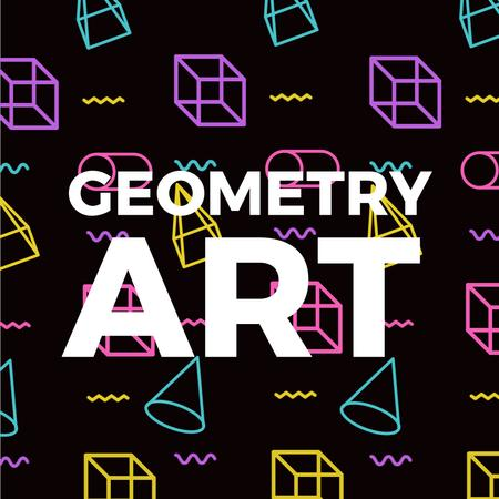 Geometry Art Inspiration with Moving Figures Animated Post Modelo de Design