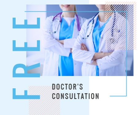 Plantilla de diseño de Consultation Offer Team of Professional Doctors Large Rectangle