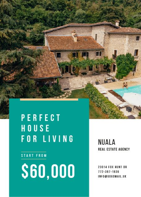 Plantilla de diseño de Real Estate Ad with Pool by House Flayer