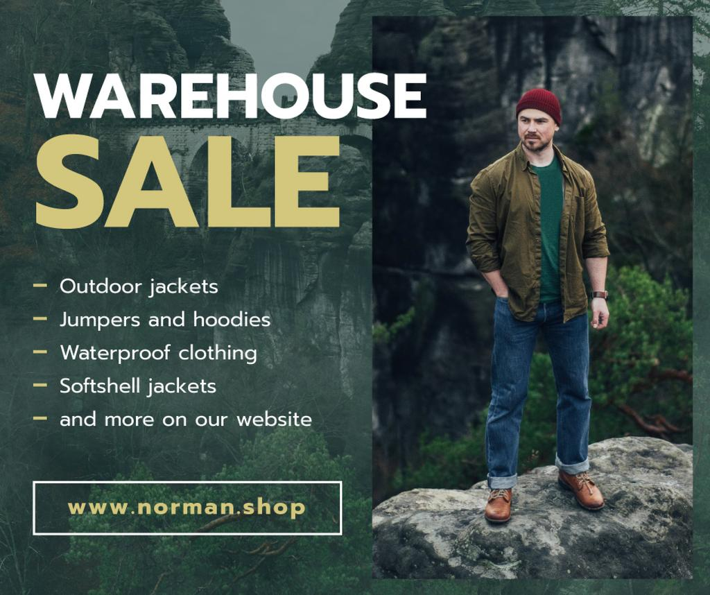 Outdoor Clothes Ad handsome Man on Cliff — Modelo de projeto