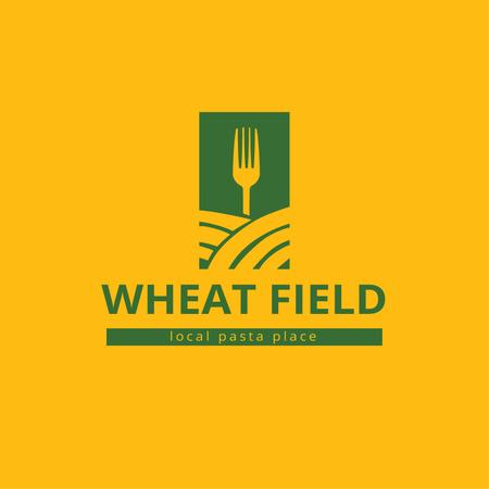 Pasta Restaurant Ad with Fork on Wheat Field Logo Tasarım Şablonu