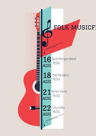 Plantilla de diseño de Music Festival Announcement with Acoustic Guitar Poster