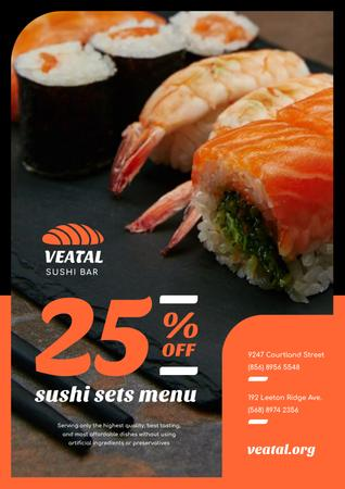 Japanese Restaurant Offer with Fresh Sushi Poster Tasarım Şablonu
